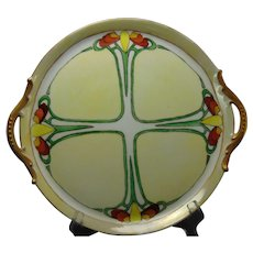 """P&P Limoges Art Deco Floral Design Handled Plate/Tray (Signed """"Lena M. Cyr""""/Dated 1912)"""