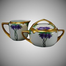 "Rosenthal Bavaria Violet Motif Creamer & Sugar Set (Signed ""J. Burch""/c.1903-1930) - Keramic Studio Design"
