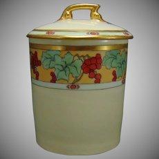 """T& V Limoges Grape Design Condiment/Jelly Jar (Signed """"Tanis""""/c.1910-1930)"""