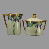"Jaeger & Co. Bavaria Grape Design Creamer & Sugar Set (Signed ""Elsie Rose Keetch""/Dated 1909) - Keramic Studio Design"
