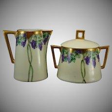 "Jaeger & Co. Bavaria Grape Design Creamer & Sugar Set (Signed ""Elsie Rose Keetch""/Dated 1909) - Keramic Studio Design"