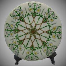 """JP Limoges Lily Design Plate (Signed """"Hazel Wood Brown""""/Dated 1904)"""