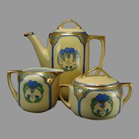 Moritz Zdekauer Austria Floral Design Coffee Pot, Sugar & Creamer Set (c.1900-1920)
