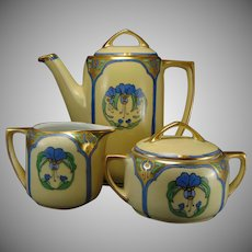 Moritz Zdekauer Austria Floral Design Coffee Pot, Sugar & Creamer Set (c.1900-1920)