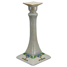 "Porcelain Blank Lustre & Art Deco Floral Design Candlestick (Signed ""S. Clements""/Dated 1916) - Keramic Studio Design"
