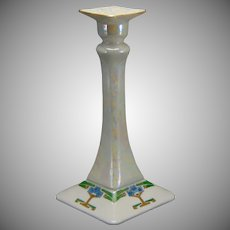 "Porcelain Blank Lustre & Art Deco Floral Design Candlestick (Signed ""S. Clements""/Dated 1916) - Keramic Studio Design"