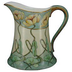 "Hutschenreuther Favorite Bavaria ""Pond Lily"" Design Pitcher (Signed ""B.L.""/c.1907-1930) - Keramic Studio Design"
