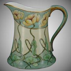"Hutschenreuther Favorite Bavaria ""Pond Lily"" Design Pitcher (Signed ""B.L.""/c.1907-1930) - Keramic Studio Design"
