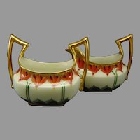 "Pickard Studios T&V Limoges ""Cyclamen"" Design Creamer & Sugar (c.1903-1905)"