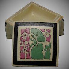 "American Satsuma Enameled Floral Design Covered Box (Signed ""Florence M. Plummer""/c.1910-1930)"