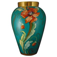 "Large D&Co. Limoges Poppies & Matte Green Whiplash Design Vase (Signed ""Bement""/c.1900-1930)"