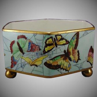 T&V Limoges Butterfly & Spider Web Design Footed Planter (c.1900-1930)