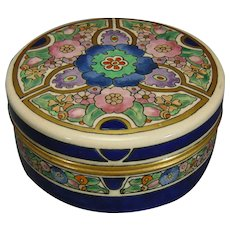American Satsuma Enameled Floral Design Covered Jar/Trinket Dish (c.1910-1930)
