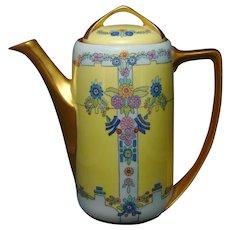 """Rosenthal Bavaria Enameled Floral Motif Coffee Pot (Signed """"Birk""""/c.1910-1930)"""