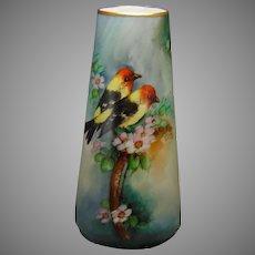 """Carl Tielsch Altwasser Silesia Western Tanager/Bird Design Vase (Signed """"Marks""""/c.1900-1934)"""