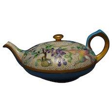 "PL Limoges Enameled Butterflies, Birds & Floral Design Teapot (Signed ""M.K. Louster""/Dated 1912)"