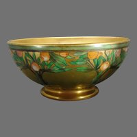 "Joseph Schachtel Germany OrangeTree Design Centerpiece Bowl (Signed ""E.R.M.""/Dated 1904) - Keramic Studio Design"