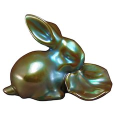 Zsolnay Hungary Eosin Green Rabbit & Leaf Figurine (c.1940's)