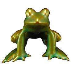 Zsolnay Hungary Eosin Green Frog Figurine (c.1920-1950)