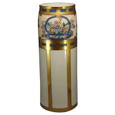 Lenox Belleek (American) Enameled Floral Basket Design Vase (c.1906-1924)