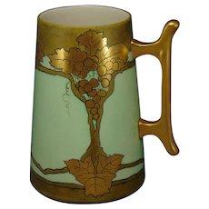Willets Belleek (American) Gold Grape Design Tankard/Mug (c.1880-1920)