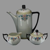 ZS&Co. & Jaeger & Co. Bavaria Enameled Floral Design Coffee Pot, Creamer & Sugar Set (c.1900-1920)