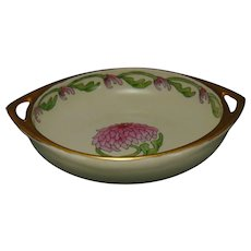 "TK Czechoslovakia Chrysanthemum Design Handled Bowl (Signed ""O.S.""/c.1918-1936)"