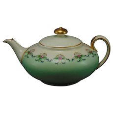 """ZS&Co. Bavaria Floral Design Teapot (Signed """"N. Wallace""""/Dated 1916)"""