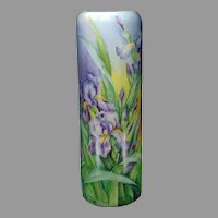 "PH Leonard Austria Iris Design Vase (Signed ""B. Woodis""/c.1900-1930)"