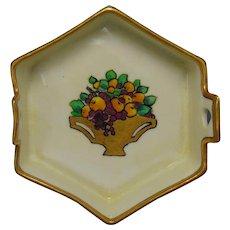 """B&Co. Limoges Fruit Basket Design Trinket Dish (Signed """"Perry""""/c.1910-1930)"""