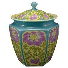 Lenox Belleek Enameled Floral Design Covered Jar (c.1906-1924)