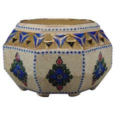 Amphora Austria Enameled Floral Design Dish (c.1905-1918)