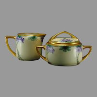 Rosenthal Bavaria Violet Design Creamer & Sugar Set (c.1903-1930) - Keramic Studio Design