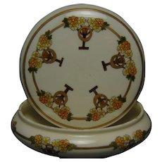 Willets Belleek (American) Enameled Floral Design Covered Jar (c.1880-1915)