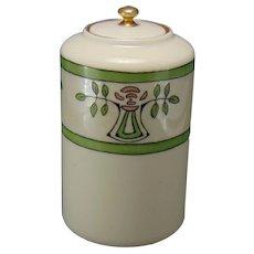 "Lenox Belleek (American) Rose Motif Canister/Jar (Signed ""Perkins""/c.1906-1924)"