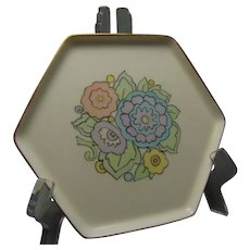 "RS Germany Floral Design Pin Dish (Signed ""Hazel Thom""/Dated 1932)"