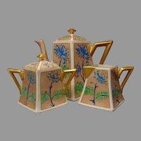 """B&Co. Limoges Floral Design Coffee/Tea Pot, Creamer & Sugar Set (Signed """"K. Cooke""""/Dated 1923)"""