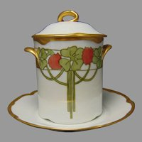 "J&Co. Bavaria 4-Leaf Clover Design Condensed Milk Set (Signed ""Ophelia Johnston""/Dated 1921) - Keramic Studio Design"
