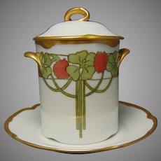 "J&Co. Bavaria 4-Leaf Clover Design Condensed Milk Set (Signed ""Ophelia Johnston""/Dated 1921) - Keramic Studio Design"