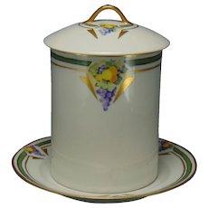 """Limoges """"Mark 6"""" Fruit Design Jelly/Jam Jar Set (Signed """"H.K. Haught""""/c.1910-1930)"""