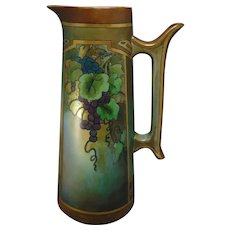 """Tall T&V Limoges Grape Motif Ewer/Pitcher (Signed """"Ruth Whitley""""/Dated 1916)"""