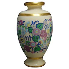 "American Satsuma Enameled Floral Design Vase (Signed ""Beulah G. Young""/c.1910-1930)"