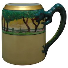 "H&Co. Bavaria Dragon-Handled Landscape Design Mug/Tankard (Signed ""G.S.E.""/Dated 1915)"