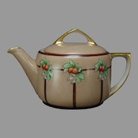 "MZ Austria Orange Design Teapot (Signed ""McCann""/c.1910-1930)"