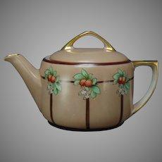"""MZ Austria Orange Design Teapot (Signed """"McCann""""/c.1910-1930)"""