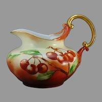 "D'Arcy's Art Studio Kalamazoo, MI Rosenthal Bavaria Cherry Design Pitcher (Signed ""L. Poppe""/c.1900-1920)"