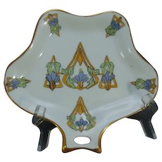 "Hutschenreuther Selb Bavaria Floral Design Tray/Trinket Dish (Signed ""F.F.""/c.1920-1940)"