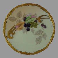 """Julius Brauer Studio Blackberry Design Plate (Signed """"Stahl""""/c.1905-1910)"""