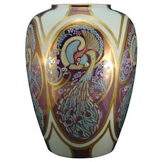 "Lenox Belleek (American) Enamel & Lustre Peacock Design Vase (Signed ""M. Jansie""/Dated 1936) - Keramic Studio Design"