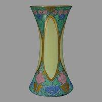 """Hutschenreuther Favorite Bavaria Enameled Floral Design Vase (Signed """"M.L. Martin""""/Dated 1915)"""